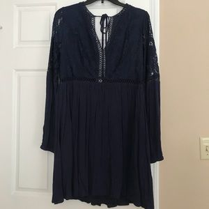 Navy Lacey Open Back Dress